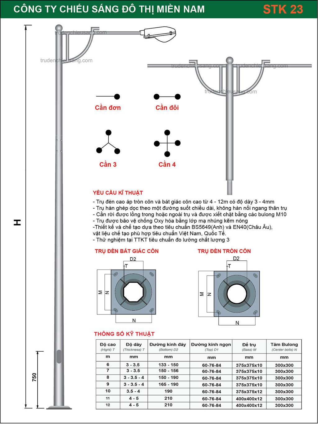 Trụ Đèn Cao Áp STK 23
