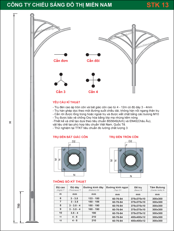 Trụ Đèn Cao Áp STK 13