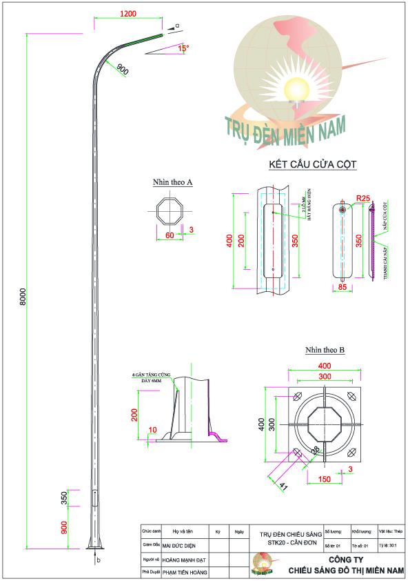Trụ đèn cao cao áp STk20-D